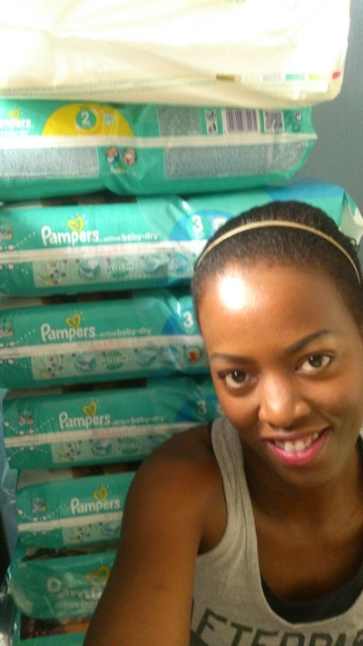 Phindiwe Nkosi with stacks on Pampers at her home