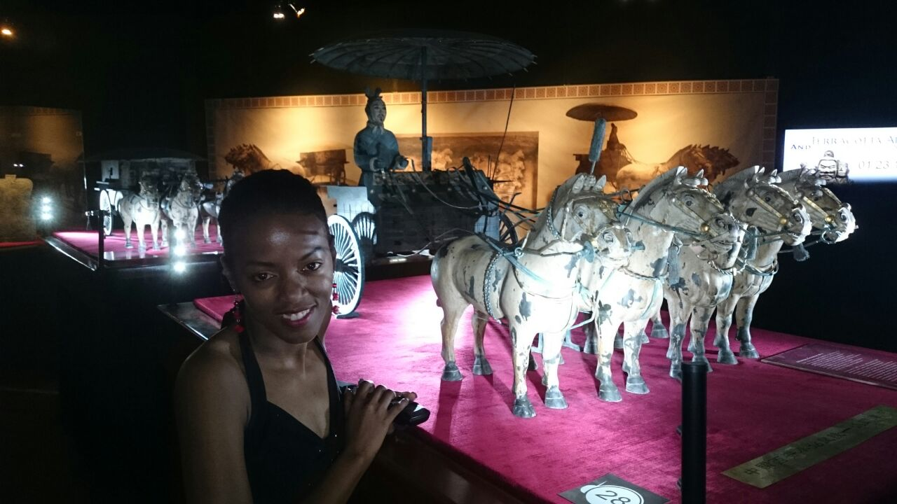 Phindiwe Nkosi at the Terracotta Army and the First Emperor of China exhibition at Centurion Mall. Photo by SL