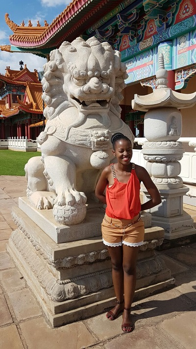 Phindiwe Nkosi at Nan Hua Temple in Bronkhorspruit. Photo by SL