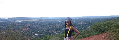 Phindiwe Nkosi at the top of the hill at Wonderboom Nature Reserve, Pretoria