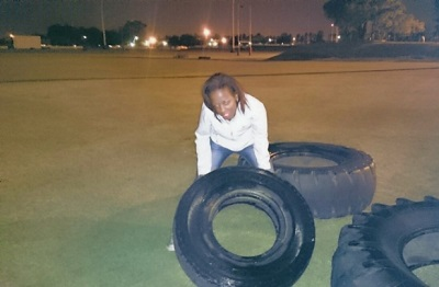 Phindiwe Nkosi flipping tyres at the University of Pretoria's High Performance Centre in Hatfield, Pretoria. Photo by SL.