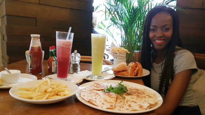 Phindiwe Nkosi enjoying a meal at Tashas, Brooklyn Mall in Pretoria. Photo by SL.