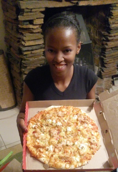 Phindiwe Nkosi with Panarottis [takeaway] from Jean Crossing [Mall], Centurion. Photo by S N-B.